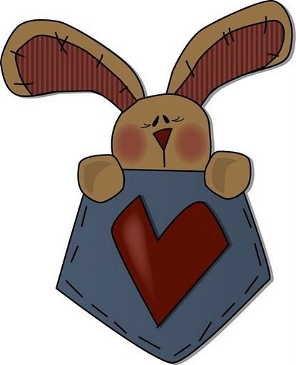 Rabbit clip art primitives. Country clipart primitive