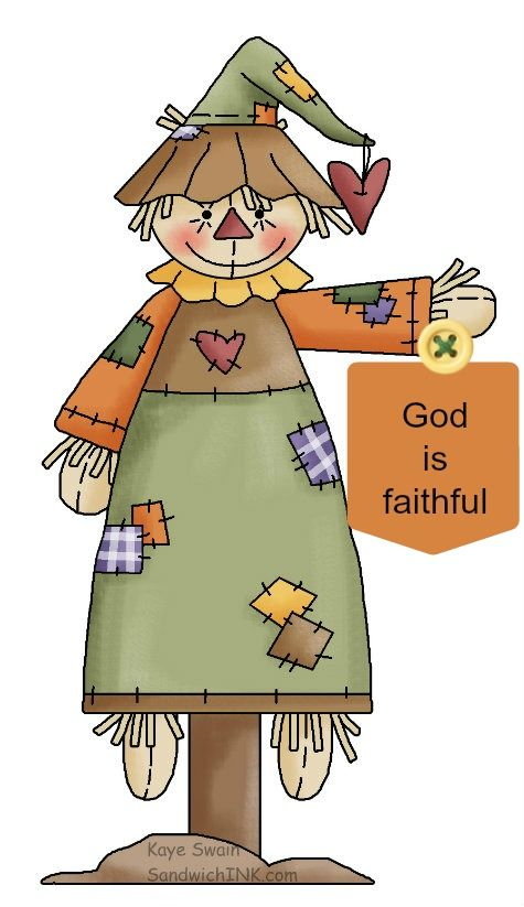 Scarecrow clipart drawn. Cute autumn country for