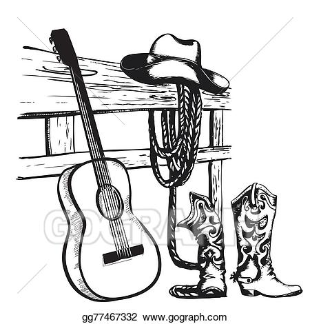 Vector art vintage poster. Cowboy clipart country western music