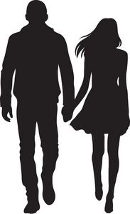 Couple clipart. Man and woman silhouette