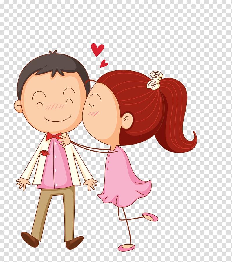 Kiss clipart cartoon kiss. Girl kissing boy on