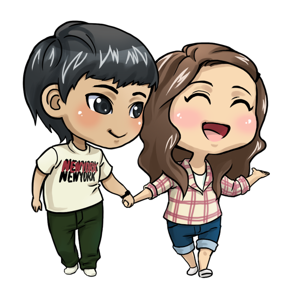 Love couple cartoon chibi. Shy clipart cheerful girl