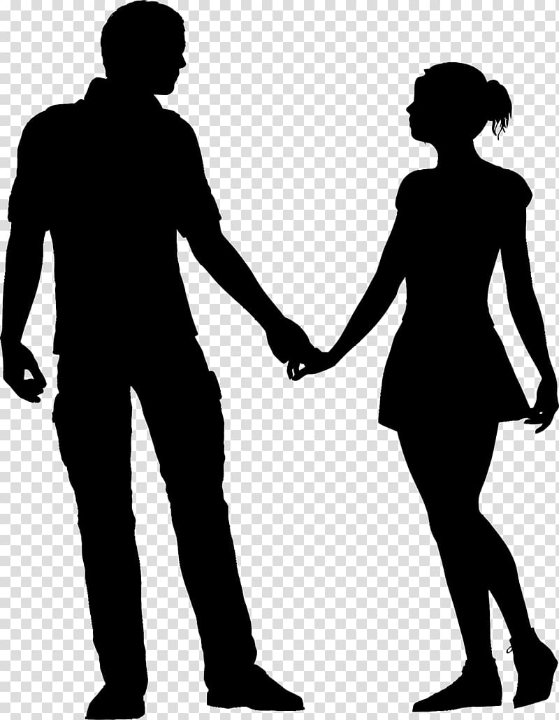 Holding hands art silhouette. Couple clipart breakup