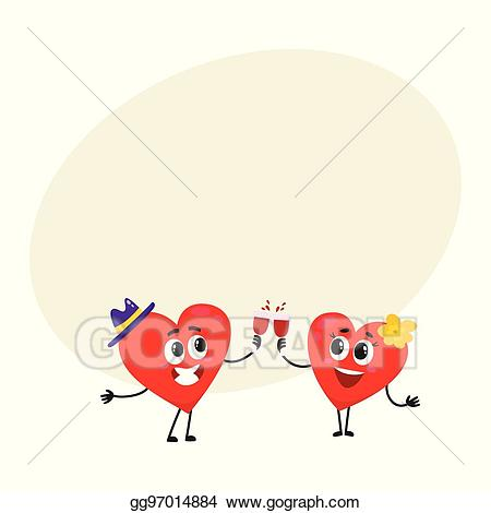 Eps vector two hearts. Couple clipart celebration