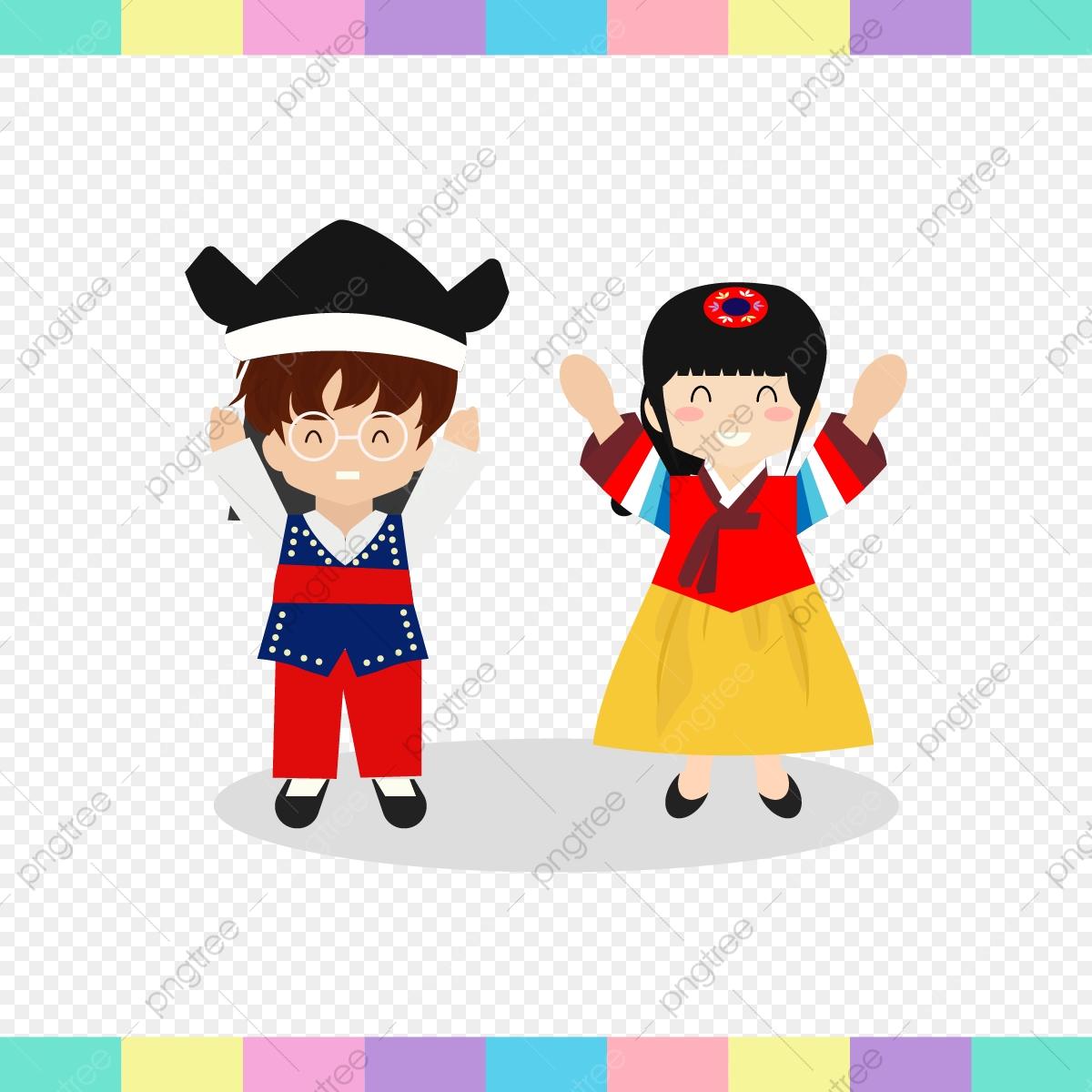 Kids happy chuseok day. Couple clipart celebration