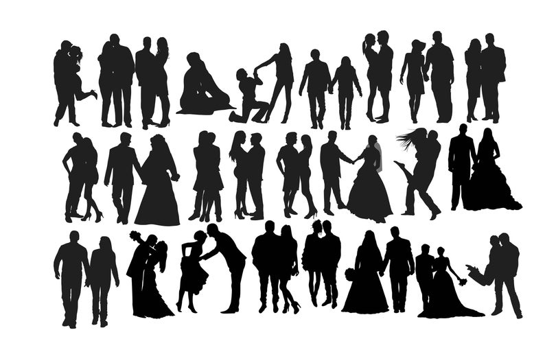 Silhouette wedding kissing lovers. Engagement clipart perfect couple
