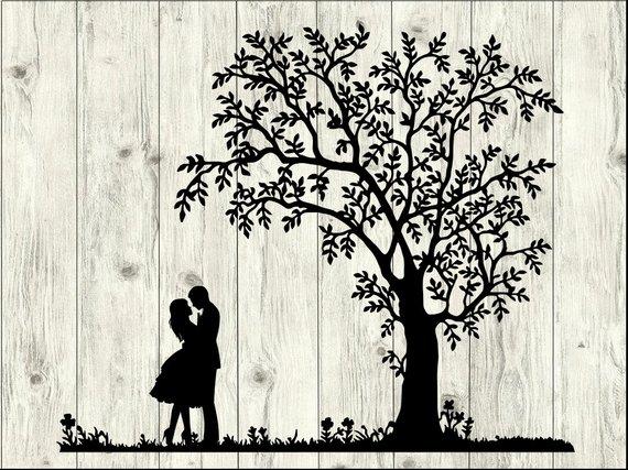 Couple clipart file. Svg bundle tree cut