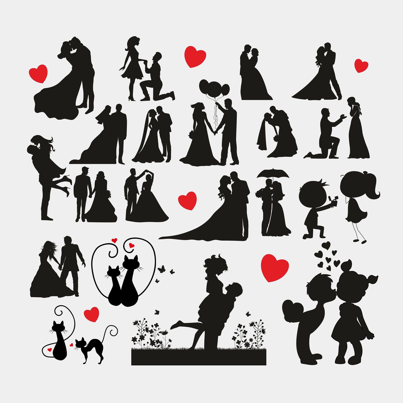 Svg bundle silhouette . Couple clipart file
