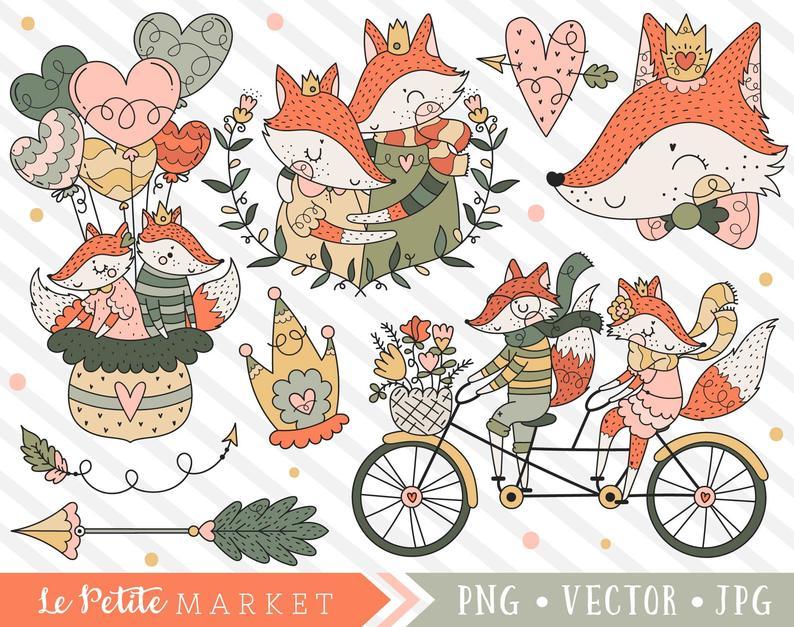 Couple clipart fox. Wedding cute foxes on