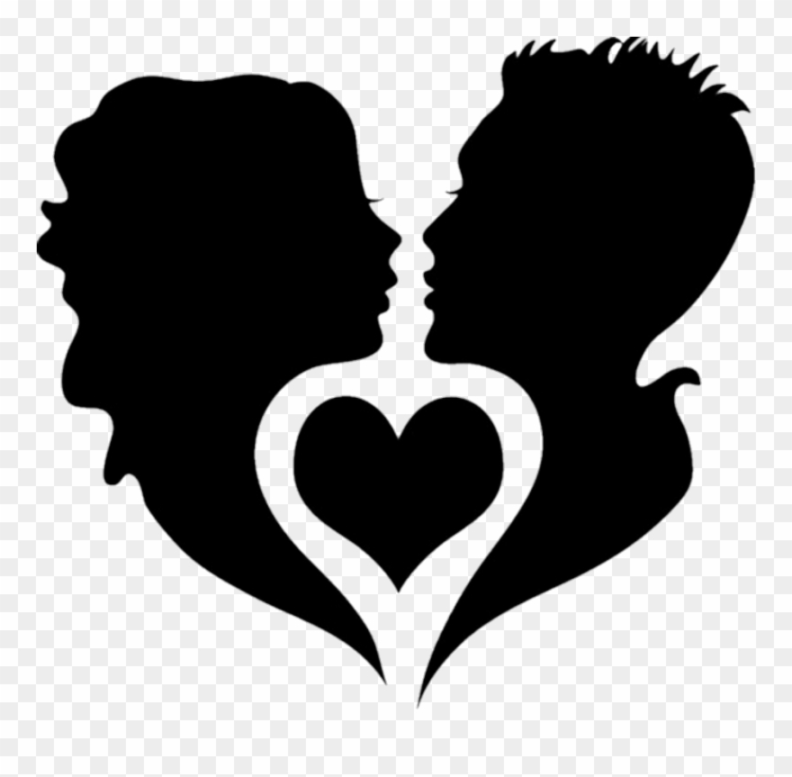 Black silhouette silhouettes couples. Couple clipart heart
