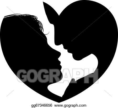 Vector art faces silhouette. Couple clipart heart