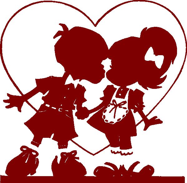 Dark red valentine clip. Kiss clipart small