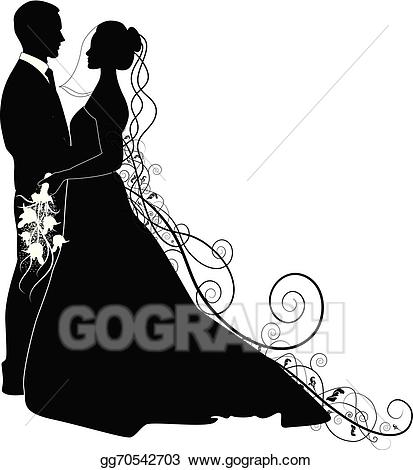 Vector wedding illustration . Couple clipart married couple
