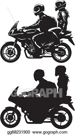 Motorcycle clipart couple. Eps vector on stock