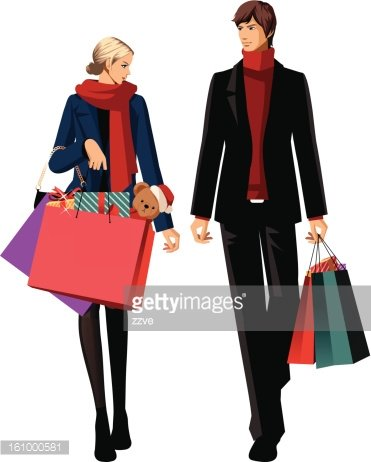 Couple clipart shopping. With bags stock vectors