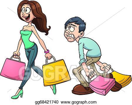 Vector illustration . Couple clipart shopping