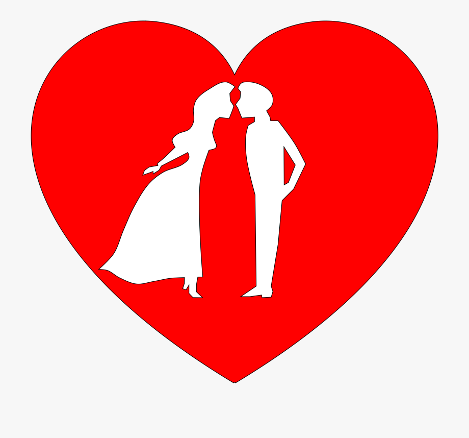 A heart with kissing. Couple clipart true love