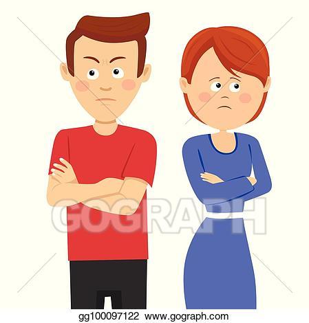 Vector young unhappy having. Couple clipart upset