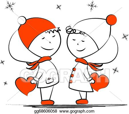 Winter clipart couple. Vector loving in the