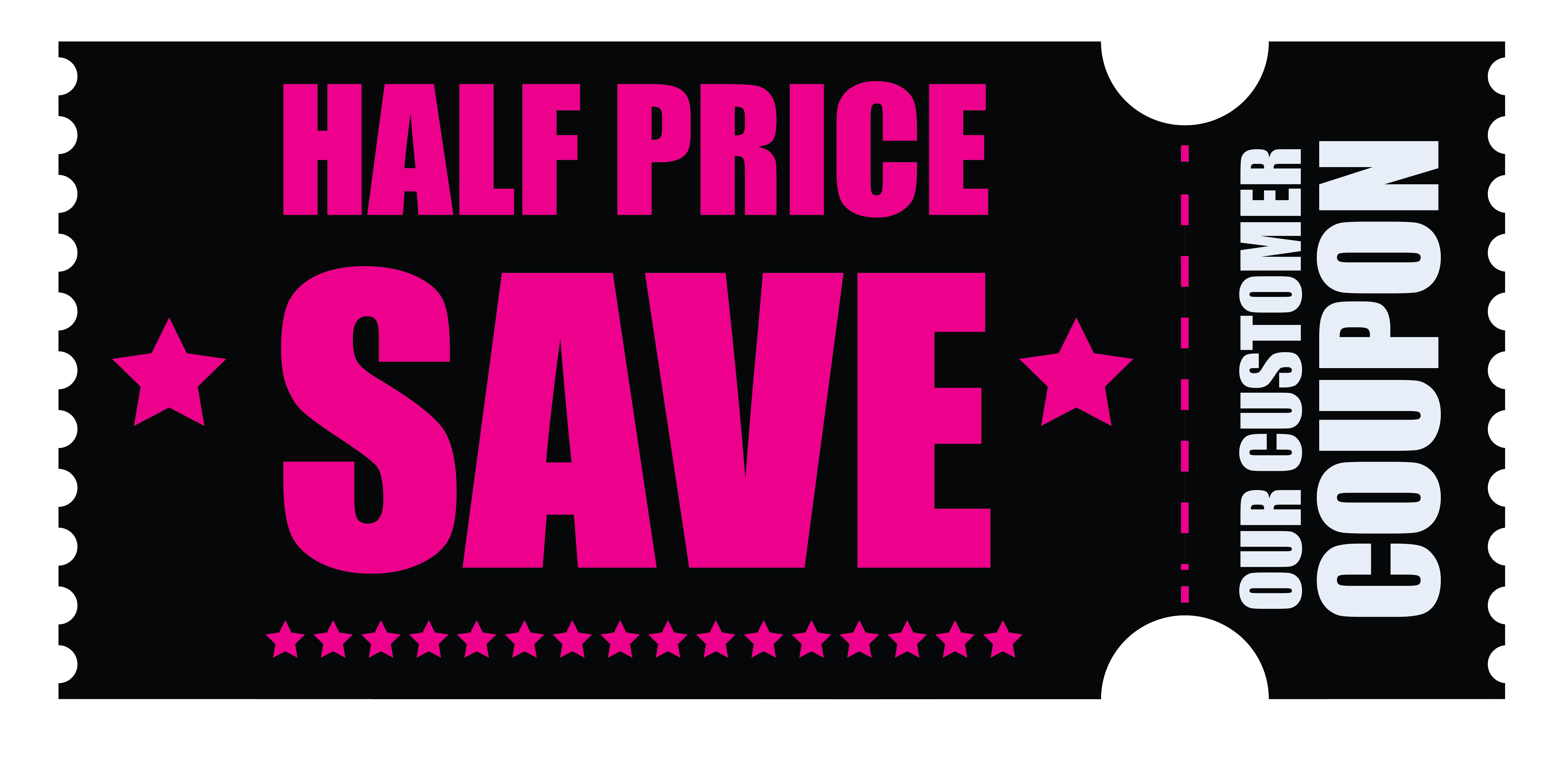 Black friday half price. Coupon clipart