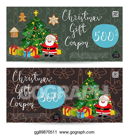 Vector stock gift voucher. Coupon clipart christmas