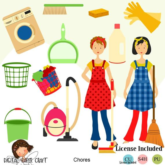 Maid clipart clip art. Housework cleaning home instant