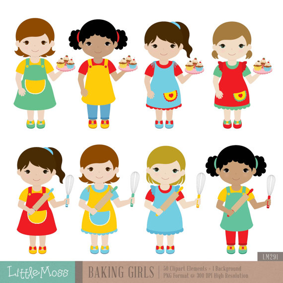 Baking girls digital products. Coupon clipart kid