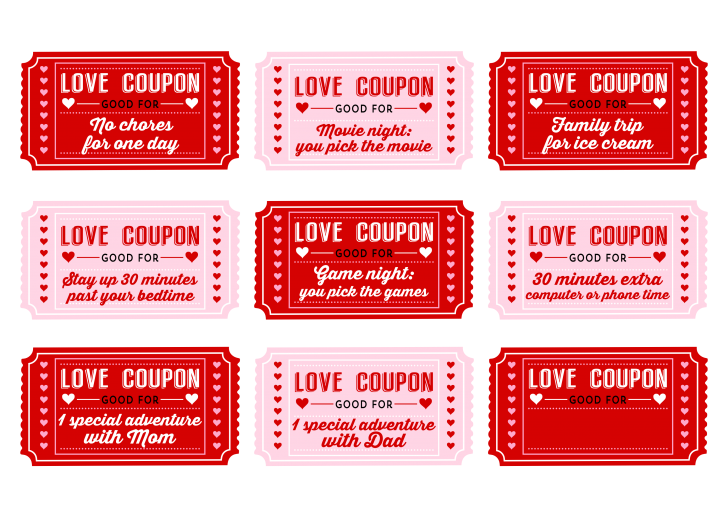 Valentine booklet for six. Coupon clipart valentines day