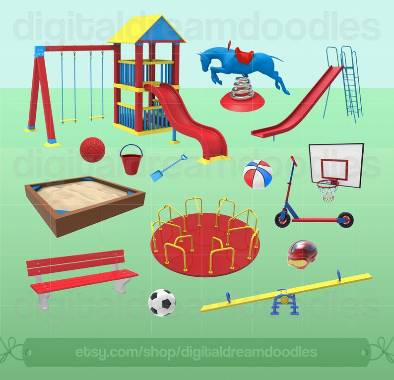 Clip art slide graphic. Playground clipart small park