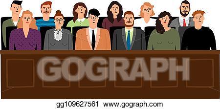 Vector illustration jury in. Court clipart prosecution