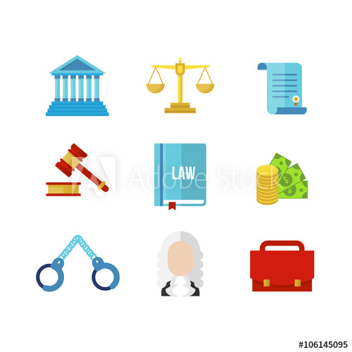 Law icon set vector. Court clipart tribunal