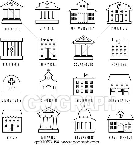 Eps illustration government buildings. Courthouse clipart governemnt