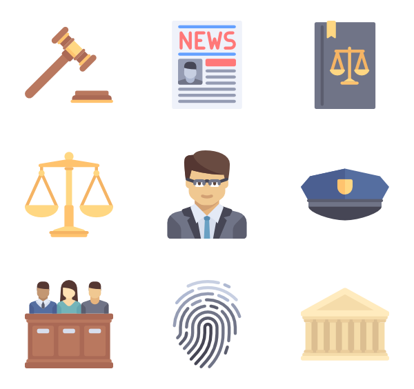 Law icons free vector. Courthouse clipart icon