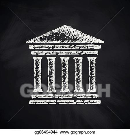 Courthouse clipart icon. Vector stock illustration