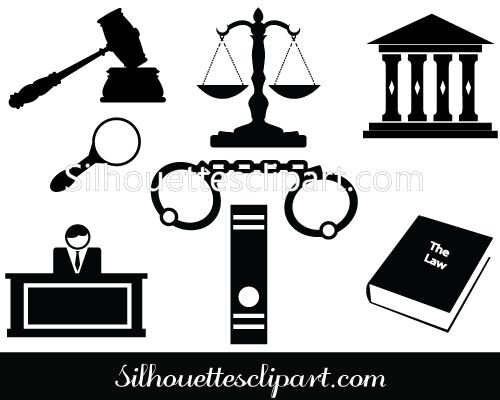 Courthouse clipart lawyer court. Silhouette of gavel hammer