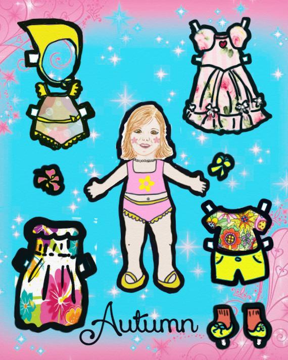 Cousins clipart autumn. Paper doll digital download