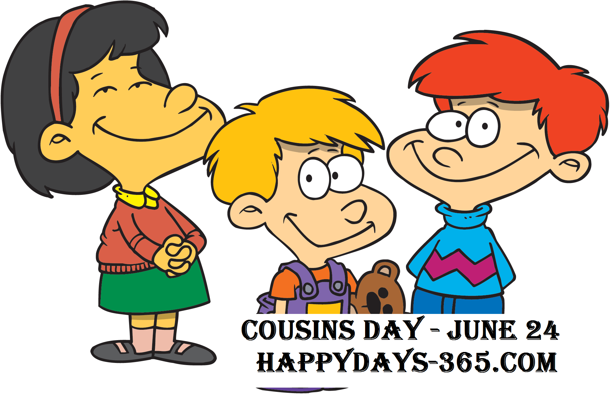 National day july happy. Cousins clipart children's