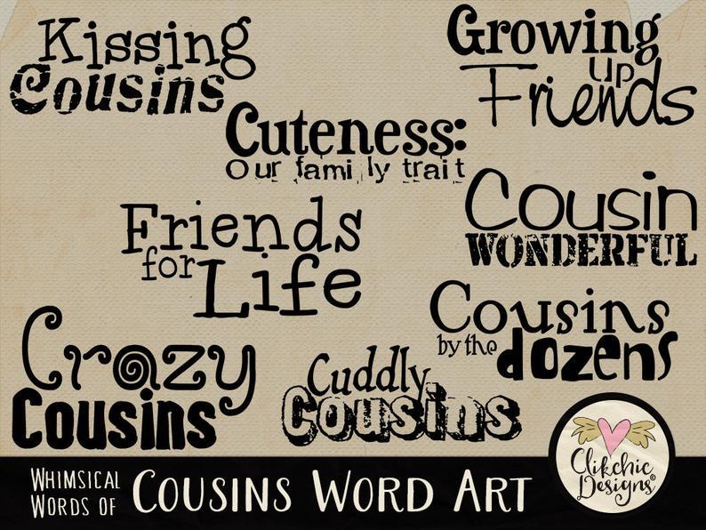 Word art digital scrapbook. Cousins clipart united