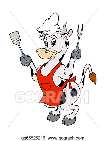 Stock illustration art illustrations. Cow clipart chef
