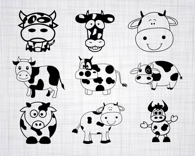 Svg bundle cut files. Cow clipart cute