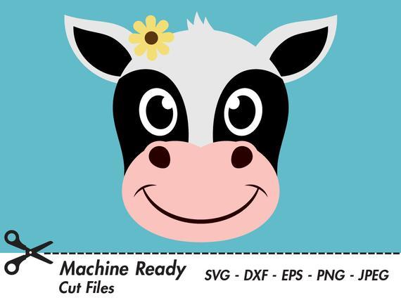 Cow clipart face. Cute svg cut files