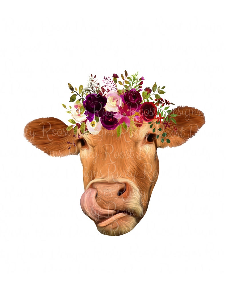 Png with flowers head. Cow clipart flower