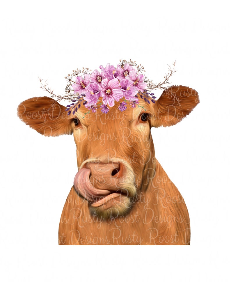 Cow clipart flower. Png with flowers cute