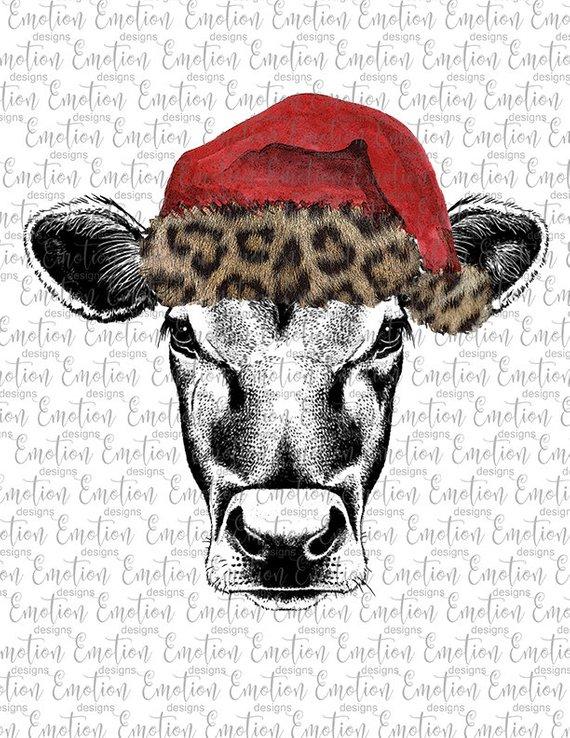 Cow clipart hat. Heifer in santa christmas