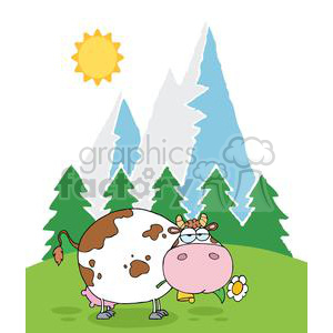 Cow clipart mouth. Mountain dairy with flower