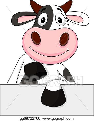 Vector art with blank. Cow clipart sign
