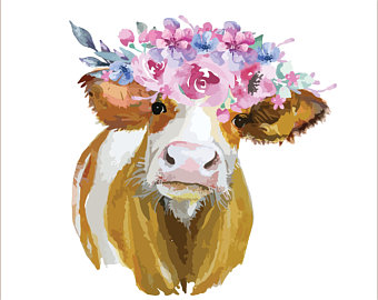 Etsy . Cow clipart watercolor