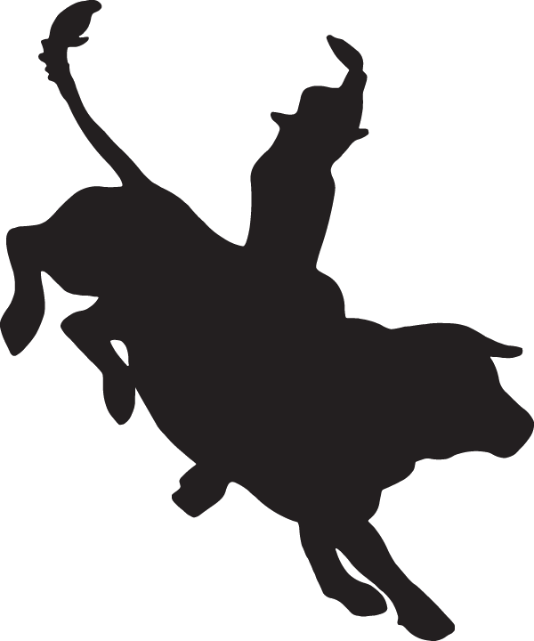 Bull riding silhouette . Wrestlers clipart black and white