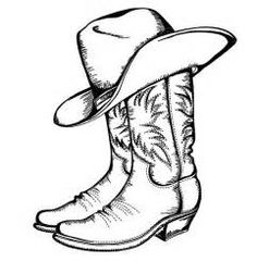 Cowboy clipart cowboy drawing. Boot line at paintingvalley