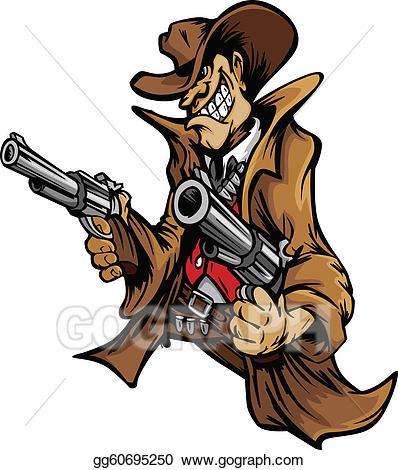 Cowboy clipart cowboy shooting. Vector cartoon mascot aiming